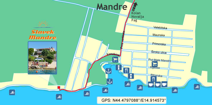 Apartments Slavek - Mandre (Map)